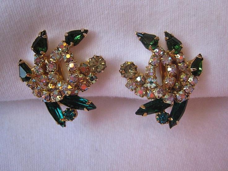 Schiaparelli Clip Earrings Shades of Green and AB Rhinestones--Stunning!