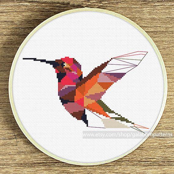 Hummingbird Cross stitch pattern Birds Geometric Mosaic Cross Stitch Pattern…