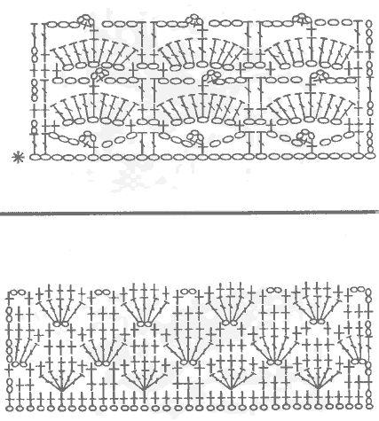 Веера крючком ажурные Вязание с ромбами Узоры из листьев. Вязание спицами Мотивы крючком