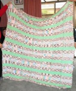 Blanket with lime green stripes