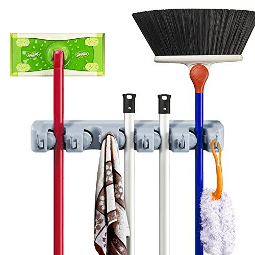 Mop and Broom Storage Tool Rack Multipurpose Wall Mounted 5 Position 6 Hooks Storage Rack no Sliding Ideal Broom Mop and Broom Storage Tool Rack. For product & price info go to:  https://all4hiking.com/products/mop-and-broom-storage-tool-rack-multipurpose-wall-mounted-5-position-6-hooks-storage-rack-no-sliding-ideal-broom-mop-and-broom-storage-tool-rack/