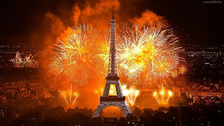 Wieża Eiffla, Fajerwerki, Paryż, Francja