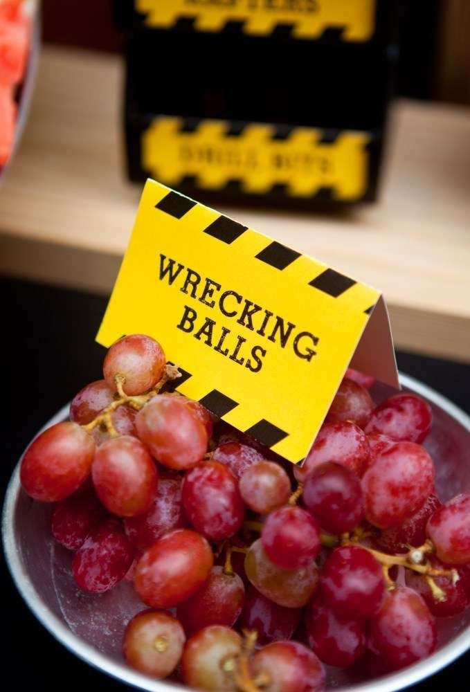 Construction birthday party grape wrecking balls!  See more party planning ideas at CatchMyParty.com!
