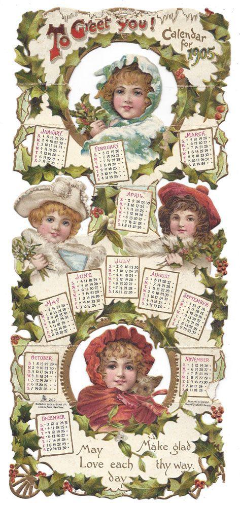1905: Raphael Tuck & Sons greeting card calendar.
