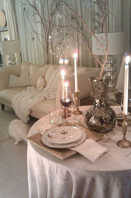 Romantic fireside dining