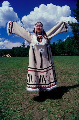 Evenki girl in traditional dress, Siberia