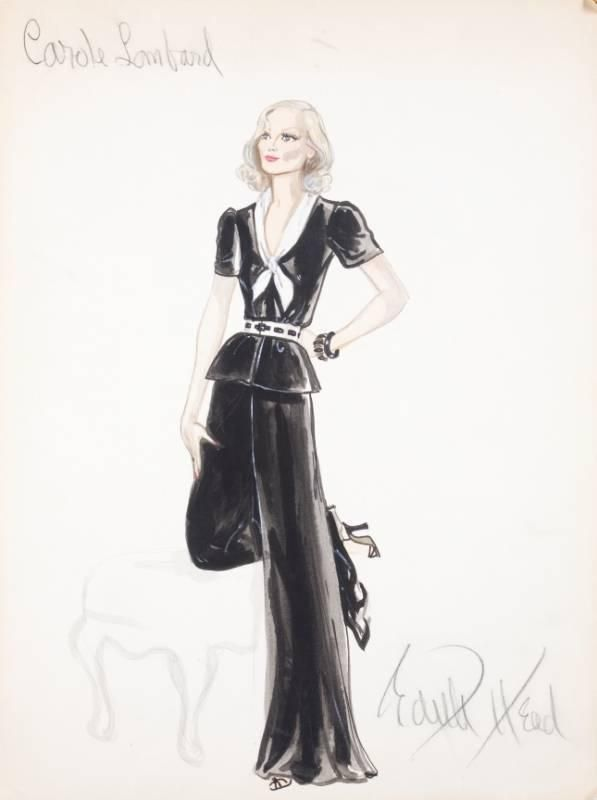 """CAROLE LOMBARD COSTUME DESIGN SKETCH - Pencil and watercolor on illustration board sketch titled """"Carole Lombard"""" and signed """"Edith Head,"""""""