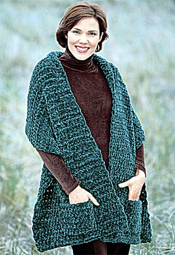 Ravelry: Plush Pocket Wrap (knit) pattern by Lion Brand Yarn