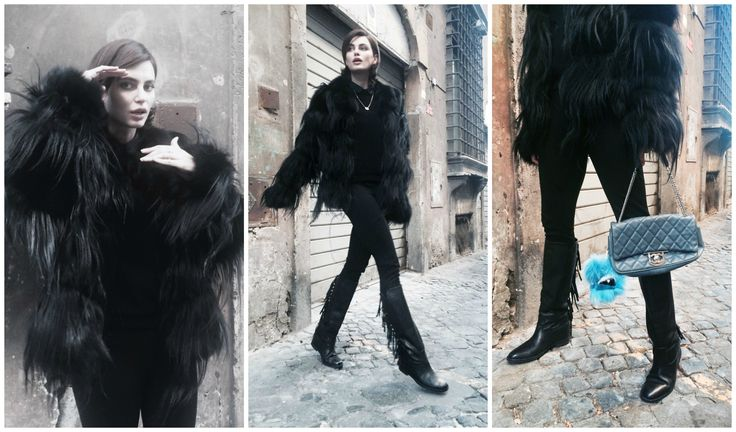 Catrinel Menghia loving our black goat and fox coat and our Païsi Bag Bug accessory.