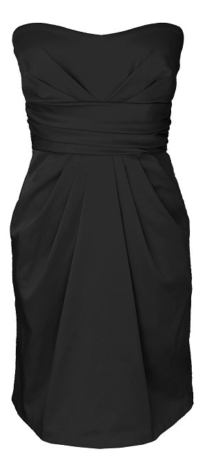 Bridesmaid Dress Black Strapless Cocktail Party Dress with Pockets MT