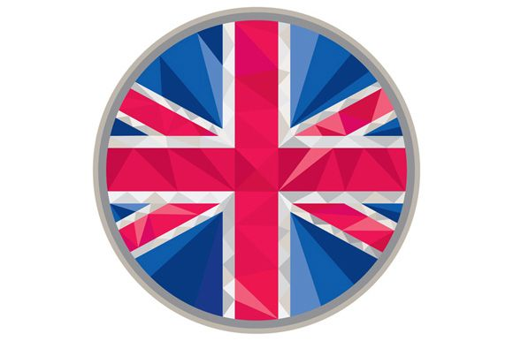 Low polygon style illustration of union jack United Kingdom, Great Britain, British flag set inside circle. The zipped file includes editable vector EPS, hi-res JPG and PNG image.
