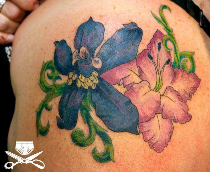 Larkspur And Gladiolus Flowers Tattoo On Shoulder