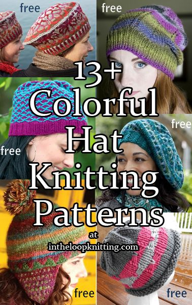 Knitting Patterns for Colorful Hats. Most patterns are free