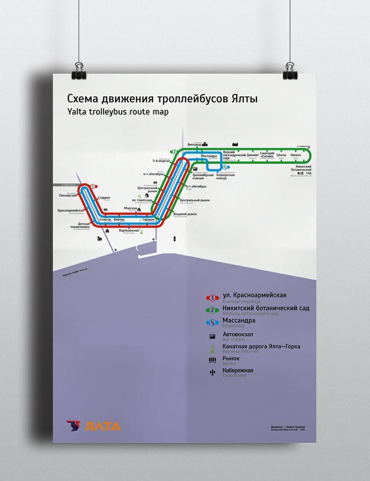 Yalta trolleybus map 2013