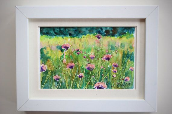 I featured pink wild flower field in this unique original watercolor postcard handpainted with best quality watercolors.  This is NOT A PRINT, this is an original handpainted small watercolor painting. Backside of this painting is a postcard. By UNIQUEPOSTCARDS