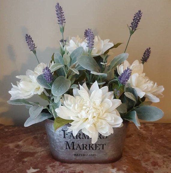 Lambs Ear Arrangement, Farmhouse Arrangement, Lambs Ear Floral Arrangement, Farmhouse Decor, Lavender Farmhouse Centerpiece, Rustic Decor