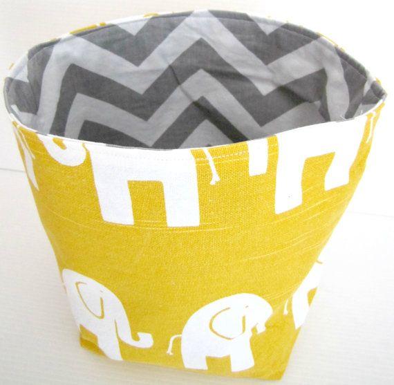 Yellow Elephant and Grey Chevron Fabric Basket - Medium by KBS ...