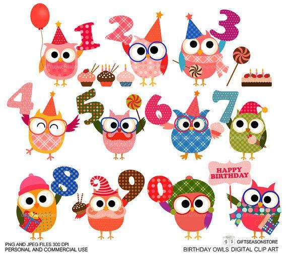 Verjaardag uil illustraties voor persoonlijke door Giftseasonstore