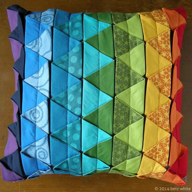 Rainbow version of the square pillow from the Betz White Pleated Pillow Trio Pattern
