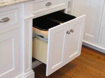 Double Trash Pull Out - traditional - kitchen trash cans - boston - Architectural Kitchens Inc.