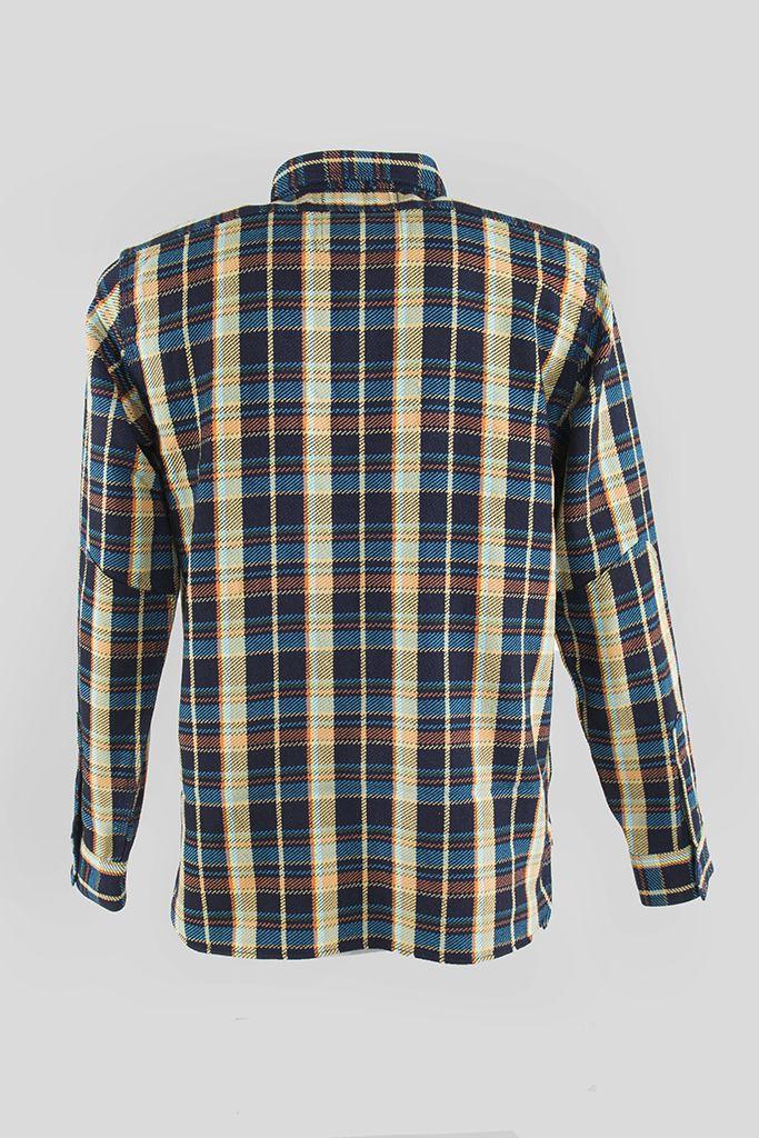 Indigo Rope Dyed Heavy Flannel Work Shirt   Shop