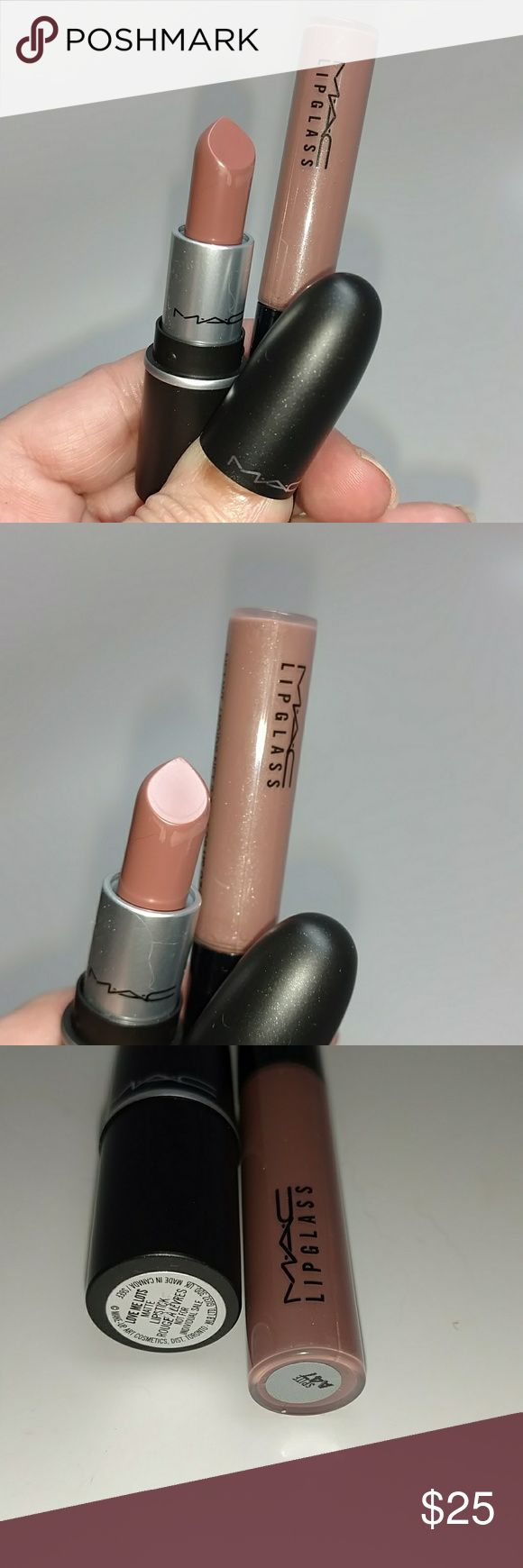 MAC ~ Love Me Lots Authentic MAC minis Lipstick color Love Me Lots and lipglass color Spite.. beautiful duo for a natural sexy lip. New never tested or used unboxed. Fast shipping. MAC Cosmetics Makeup Lipstick