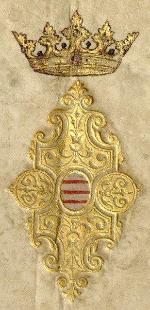 Reliure aux armes du prince Charles, duc de Croÿ et d'Arschot (couverture) -- «Recueil de blasons coloriés des chevaliers de l'Ordre du Saint-Esprit (1579-1581)», par J. Bette, sieur d'Angreau [BNF Ms Fr 25202]