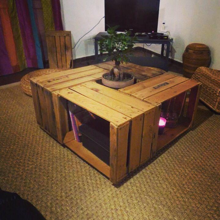 table en caisse pomme diy deco caisse pomme. Black Bedroom Furniture Sets. Home Design Ideas
