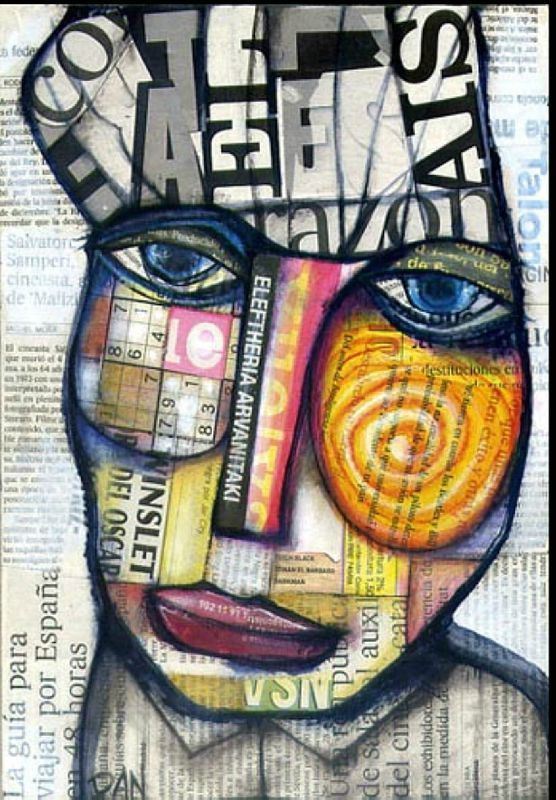 Newspaper Mixed Media Collage Portrait