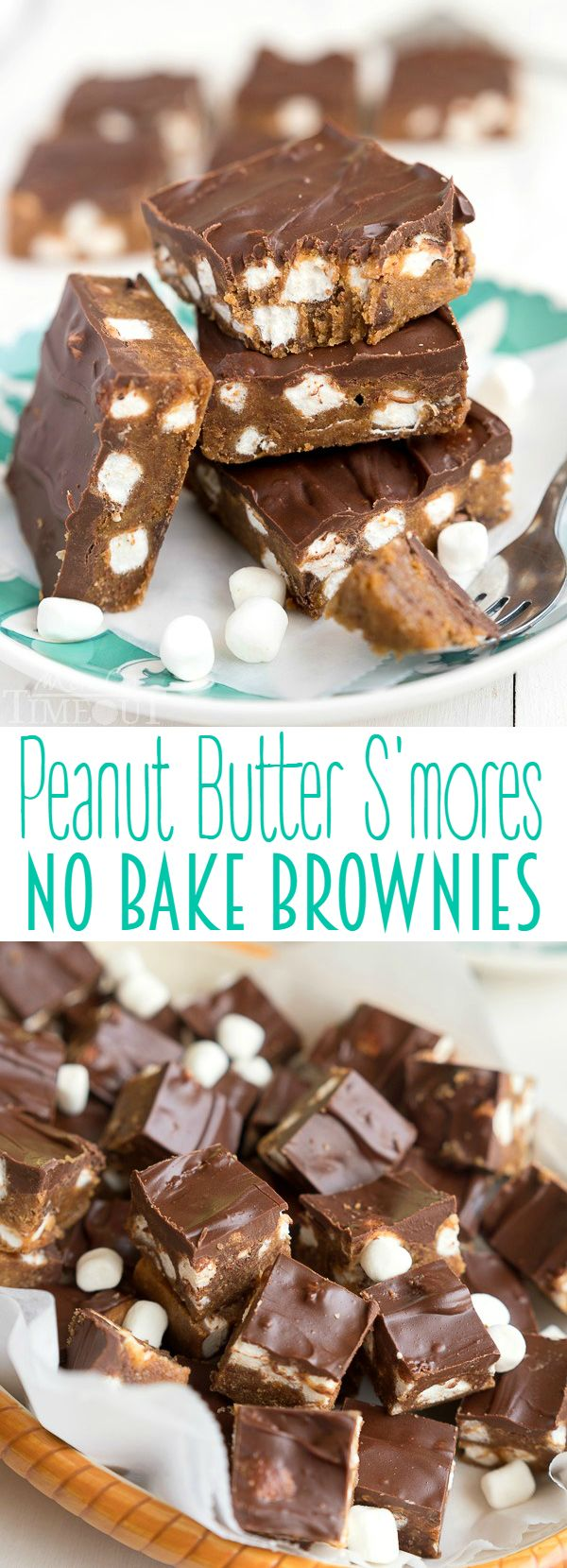 Decadent Peanut Butter S'mores No Bake Brownies can be whipped up in a jiffy and are just perfect for the hot summer months! This easy dessert recipe will having you coming back again and again. Cut them into small bites to feed a crowd! | MomOnTimeout.com: