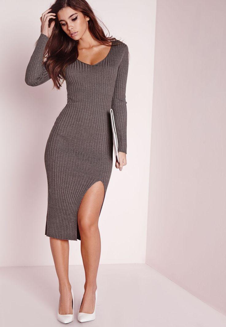 Long Sleeve Split Midi Dress Grey - Knitwear - Jumper Dresses - Missguided