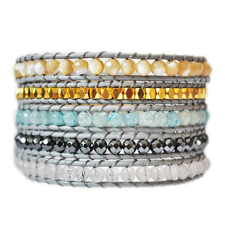 Colourful Carnival 5 Wrap Bracelet with real Leather: Sea Breeze Blue, Dark Charcoal, Gold, Pearl and Cloudy Crystals make this the accessory of the year! #gift #shopify #bracelet #jewelry #charcoal #grey #wrap