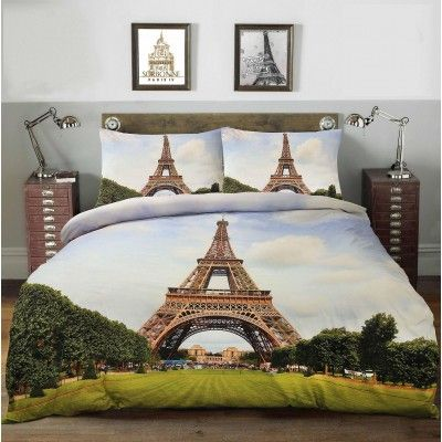 Eiffel Tower 100% Cotton Duvet Cover Set