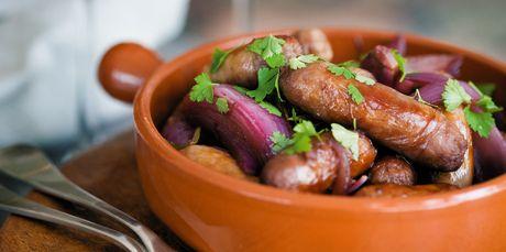 Sausages in red wine. Photo / NZ Listener