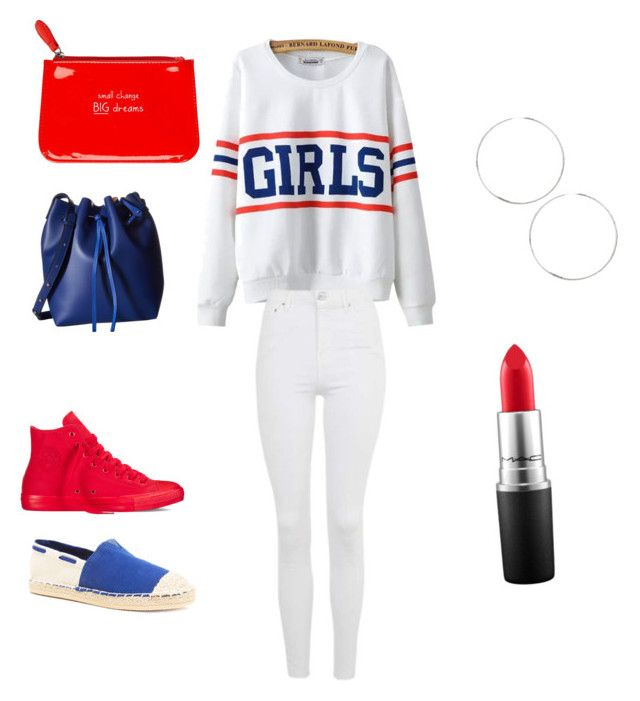 """""""Red or blue🤔"""" by jnbell on Polyvore featuring Chicnova Fashion, Qupid, ASOS, Topshop, MAC Cosmetics, Converse, Happy Jackson and Gabriella Rocha"""