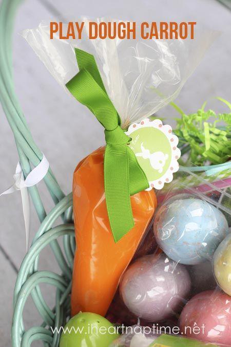 Play dough carrots + Easter tag free printable