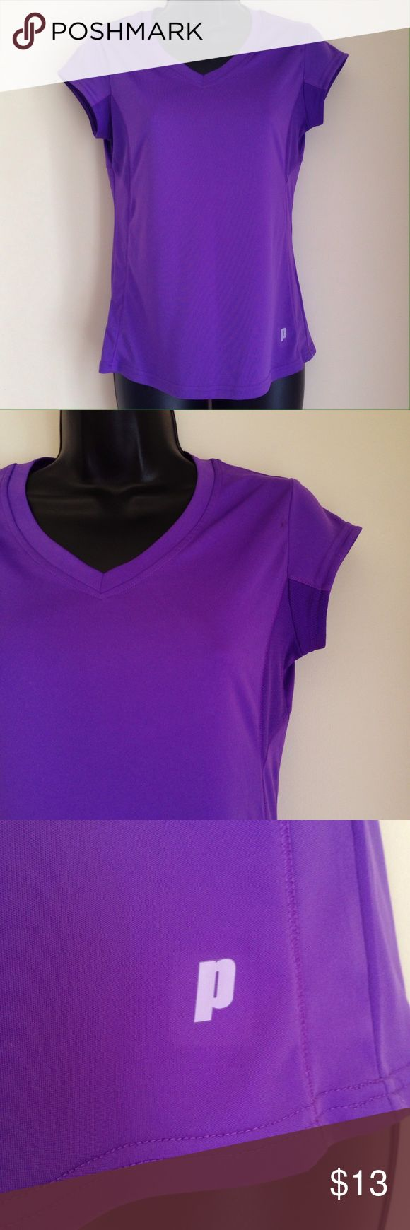 Plum Color Workout Top Dark plum/purple, women's athletic shirt. V neck, cap sleeves, moisture wicking material. Great used condition. No apparent flaws, stains, or defects. MAKE OFFERS! BUNDLE AND SAVE! Prince Tops Tees - Short Sleeve