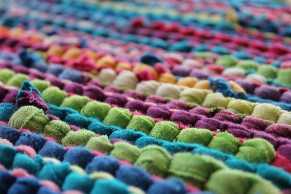 Rainbow Rag Rug Handmade From Upcyled Tshirts Retro Chic