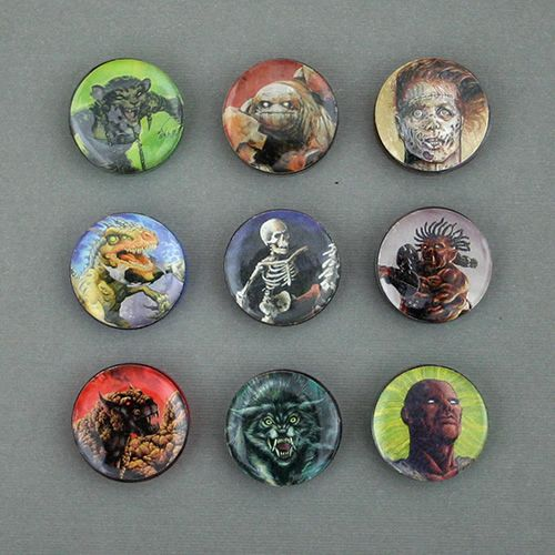 """Monster Tokens made with Alea Tools 1"""" Miniature Conversion Circles, 1"""" flat back epoxy stickers, and extra RPG cards."""