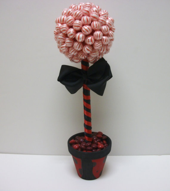 Click here for more lollipop bouquets, arrangements and more! Small Lollipop Topiary Ladybug Theme by EdibleWeddings on Etsy, $34.99. Red, Black, Ladybug Lollipop, Topiary, Tree, Jelly beans, Birthday, Wedding, Rehearsal Dinner, Bridal Shower, Baby Shower, Custom, Customized