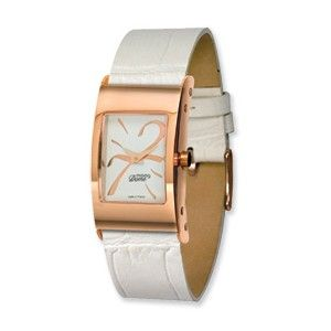 Moog Rose Plated Rectangle Domed Watch w/(CR-17RG) White Band - SalmaWatches.com $199.95