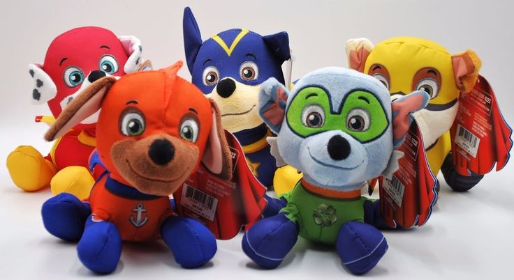 Paw Patrol Super Pups Plush Toy Bundle of 5 Chase Marshall Zuma Rocky and Rubble #Nickelodeon
