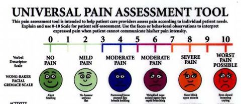 """""""on a scale of 1 to 10, what is your pain level today?""""  The infamous pain chart."""