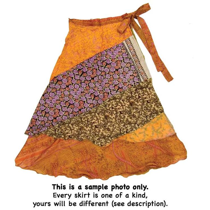Inspiration for slanted patchwork skirt (this is made from recycled Indian saris): Silk Layer Patchwork Skirt | DN204 | Jedzebel
