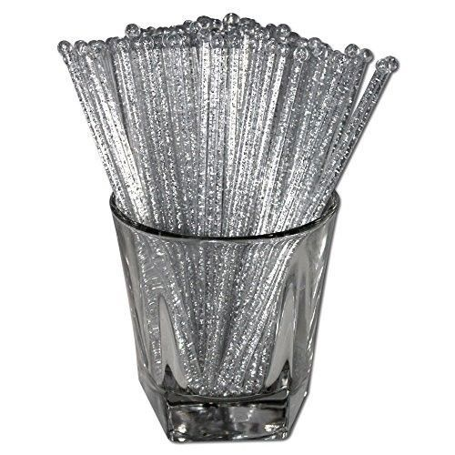 Plastic Swizzle Sticks Stirrers Set Party Drink Cocktail Mixing Crystal Silver #SwizzleSticks