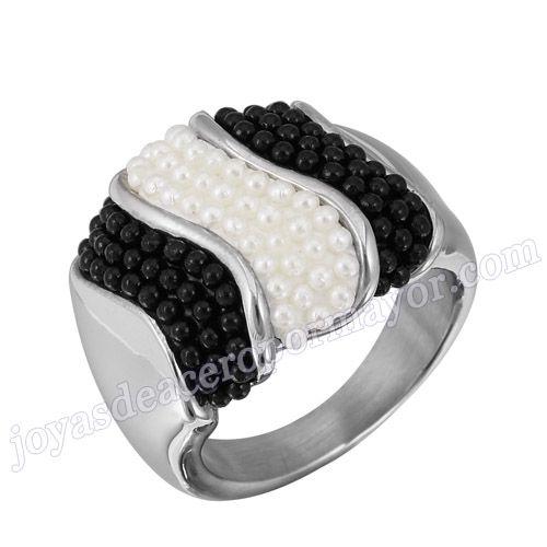Material: Acero Inoxidable   Nombre:Anillo especial blanco negro de precio barato de acero con perla de colores mixtos   Model No.:SSRG219   Peso:10.2G