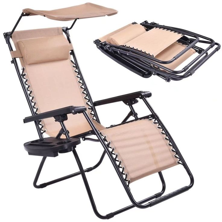 Folding Recliner Zero Gravity Lounge Chair W/Shade Canopy &Cup Holder, Beige, Size Single, Patio Furniture