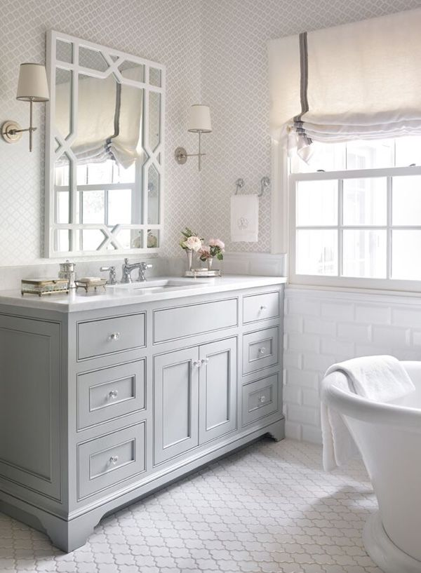 Wallpaper by Schumacher and cabinets from HammerheadCabinetry contribute to the soft master bath.
