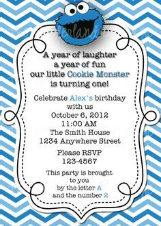 cookie monster 1st birthday party invite - Google Search