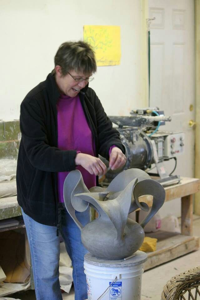 """Susan Anderson, """"An obsessive love of clay has led me to devote my life to being a potter. In 1973, I made my first pot and I knew I had found my calling. Primitive handbuilding techniques have always interested me, but my training as a production potter left me little time for exploration. The clay holds infinite possibilities. Mastering technique has led me to push the limits of form."""""""